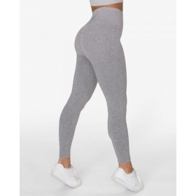 GAVELO Seamless Ribbed Light Grey Melange Leggings