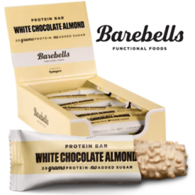Box of BAREBELLS White Chocolate Almond proteiinipalkki 12x55g