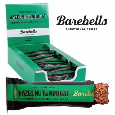 Box of BAREBELLS Hazelnut Nougat protein bar 12x55g