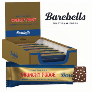 Box of BAREBELLS CRUNCHY FUDGE protein bar 12x55g