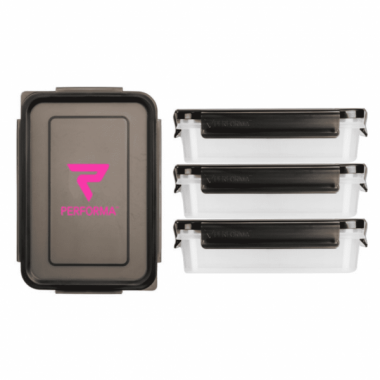 Performa 3 PACK MEAL CONTAINER 710ml, PINK-BLACK