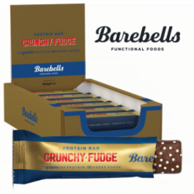Box of BAREBELLS CRUNCHY FUDGE protein bar 12x55g