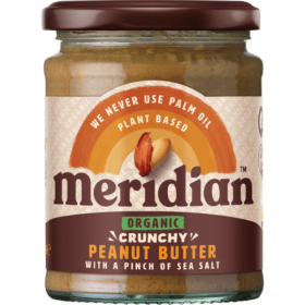 Meridian Foods organic peanut butter 280g- CRUNCHY with SALT