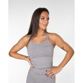GAVELO Seamless RIBBED Light Grey Melange Tank