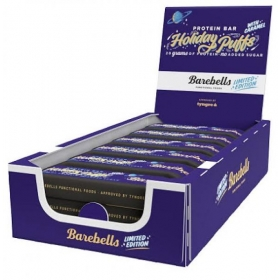 Box of BAREBELLS Holiday Puffs protein bar 12x55g